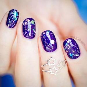 紫色星空甲,绝美美甲图片——能量少女~分享