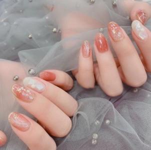 小清新甜美温柔渐变亮片玻璃纸美甲