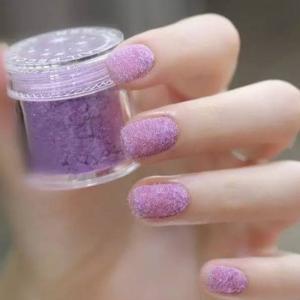 浪漫浅紫色丝绒美甲图片
