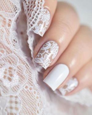 经典白色蕾丝美甲款式