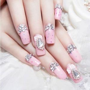 唯美奢华粉色底彩色波点水钻蝴蝶结浮雕美甲图案
