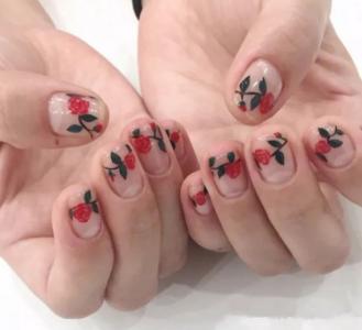 小清新复古油画风格手绘花朵短指甲美甲
