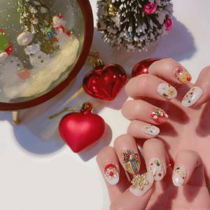 可爱童话风立体雪花圣诞节美甲