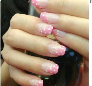 好看的粉红色法式画白色波点蕾丝可爱美甲图片