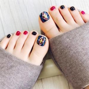 日系跳色diy创意脚指甲美甲