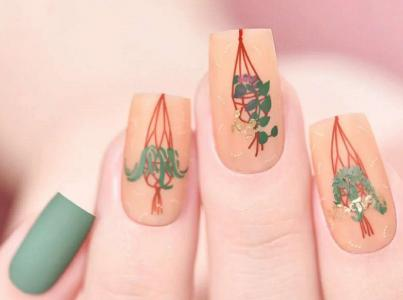 秋冬豆绿色裸橘色绿植磨砂美甲