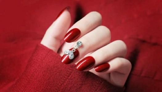 2020新款冰透红色系爱心气质显白婚甲