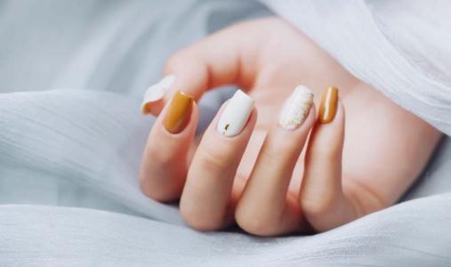 小香风橙色拼色时尚气质美甲
