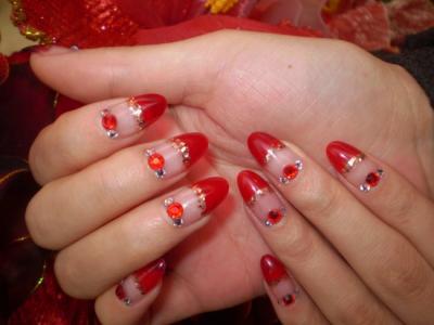 创意唯美红色水钻亮片新娘彩绘美甲图案