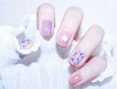 温柔蓝紫色系花朵少女心美甲