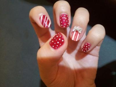 可爱小清新红色波点条纹蝴蝶结水钻彩绘美甲图案