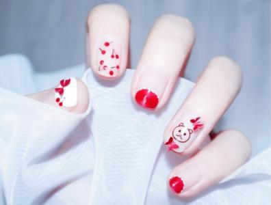 夏日可爱红色系半法式樱桃小熊蝴蝶显白美甲