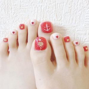 海洋风糖果粉美甲图片