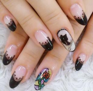 创意彩色亮片手绘蕾丝花朵美甲