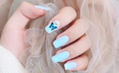 2020新款磨砂水蓝色蝴蝶珍珠显白美甲