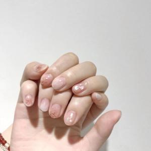 ins风少女可爱粉嫩亮片镶钻短指甲美甲