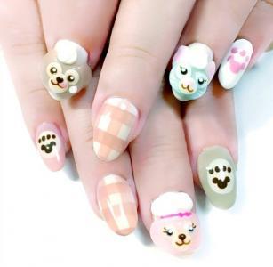 可爱动物树袋熊猫咪跳色浮雕美甲