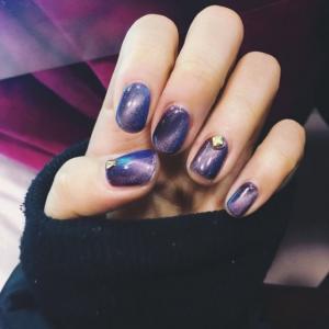 2016款式新年紫色星空美甲