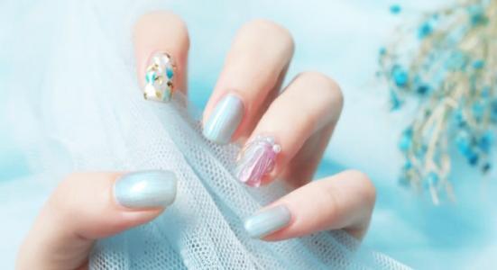 2020仙女款水波纹珍珠贝壳片气质显白撞色美甲