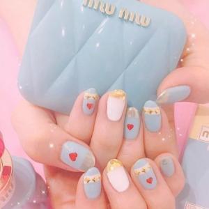 粉蓝色金属爱心日系少女美甲