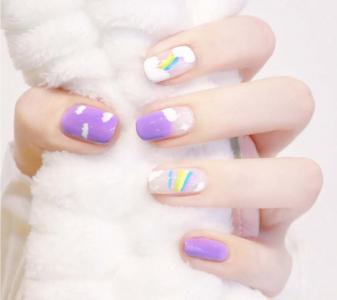 夏季显白芋泥波波紫可爱星星彩虹美甲