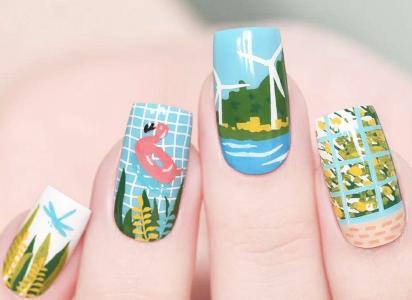 最新夏日海边度假风印花美甲款式