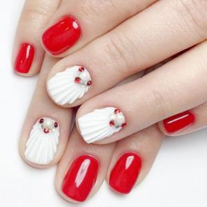 红白贝壳款美甲图片
