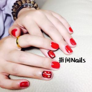 红色中国风美甲图片——指间韩式美甲美睫作品