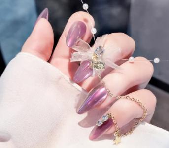 2020新款紫色偏光魔镜粉美甲