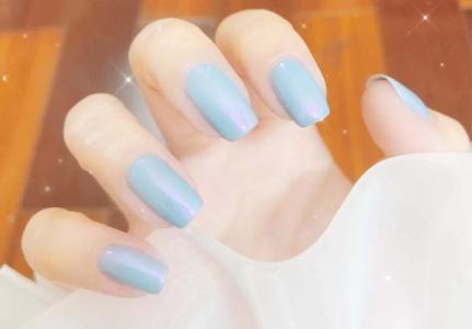 夏季蓝色系猫眼气质显白美甲