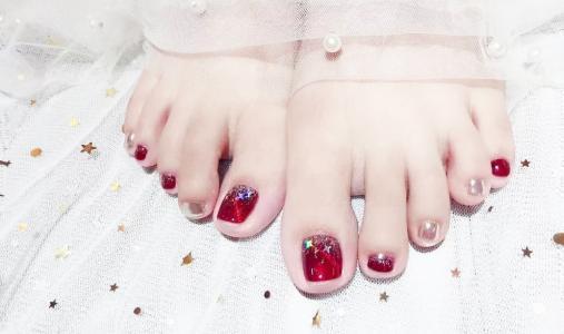 闪亮显白系列新娘脚部美甲