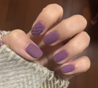 温柔系香芋紫叠加毛呢粉单色美甲