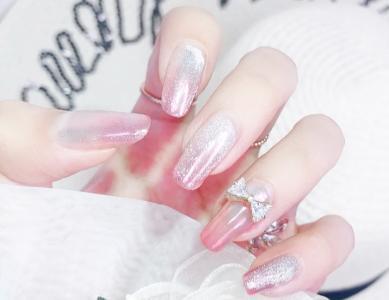 夏日粉色系渐变极光晶石猫眼显白美甲