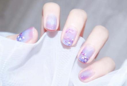 夏日ins风蓝紫色晕染显白美甲