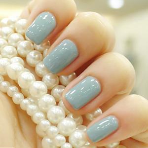 简约小清新纯青色短指甲彩绘美甲图案