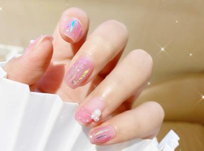2020仙女款粉色系芭蕾飘带玻璃纸美甲