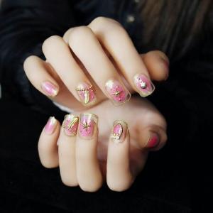 粉色海滩风贝壳美甲款式——小