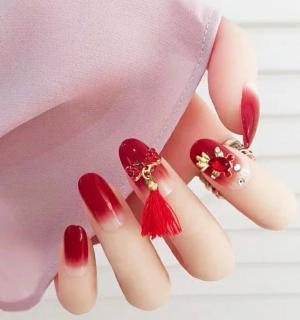 中国风红色系高级婚甲款式