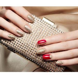 奢华创意裸底金色水钻亮片红色彩绘美甲图案